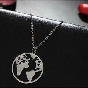 Silver earth globe  necklace